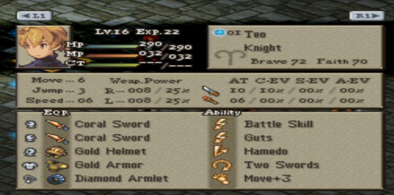 Screenshot Thumbnail / Media File 2 for Final Fantasy Tactics v1.3